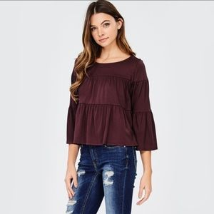 Tops - Bell Quartered Sleeves Top - Deep Plum